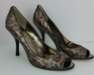 Enzo Angiolini Eamaylie 8M Silver/Bronze Cheetah Peep Toe Shoe Heels