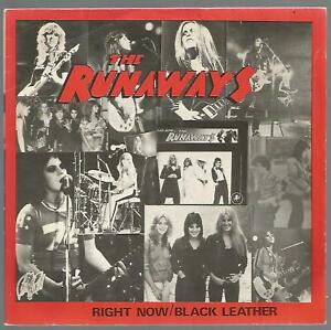 The Runaways - Right Now / Black Leather 1979 UK 45 Pic Sleeve VG/VG+ Joan Jet