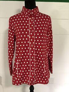 NWOT Quacker Factory Red & White Polka Dot Long Sleeve Jacket Sz M