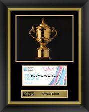 Rugby Coppa del mondo entro il 2015 ufficiale BIGLIETTO DISPLAY CORNICE Webb Ellis TROPHY RWC