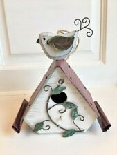 Wood Birdhouse With Tin Roof & Vines & Wooden Bird Perching - Unique Home Decor