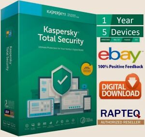 Kaspersky Total Security 2021 5 Devices 1 year PC/Mac/Android UK only