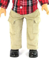 "Khaki Corduroy Pants Fits 18"" American Boy or Girl Doll Clothes"