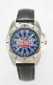 Relic Fossil Watch NBA ROCKETS Men Black Leather Stainless Silver Battery Quartz