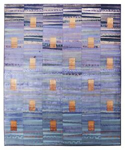 New Blue Modern 8'x10' Hand Knotted Designer Style Silk & Wool Area Shiny Rugs