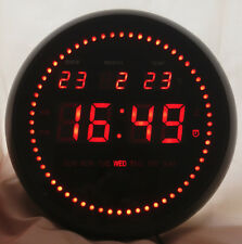 Round LED Large 30cm Digital Wall Clock TL-2802 Date Time Calender Alarm Office