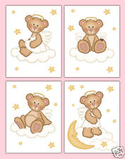 Girl Nursery Prints Angel Teddy Bear Wall Art Woodland Forest Animal Moon Stars