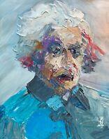 """Abstract Portrait Albert Einstein Palette Knife Art Original Painting 11x14"""""""