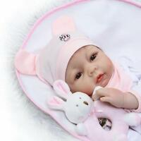 "22"" Realistic Lifelike Adorable Reborn Real born Baby Doll Girl + Rabbit Toy"