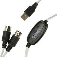 USB MIDI Interface Adapter PC Kabel für Keyboard Musik Konverter MIDI IN/OUT