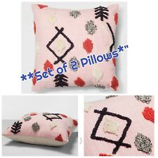 "*NEW SET of 2* Opalhouse Pink Tufted Decorative Throw Pillows Square 18""x18"""
