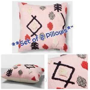 """*NEW SET of 2* Opalhouse Pink Tufted Decorative Throw Pillows Square 18""""x18"""""""