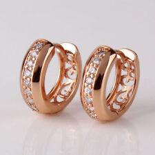18K Rose Gold Diamond Hoop Earrings 282