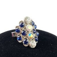 Blue Clear Aurora Borealis Rhinestone Jeweled Adjustable Ring Art Deco