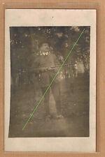 Carte Photo vintage RPPC Tarn chasseur fusil à Fontgrande pz280