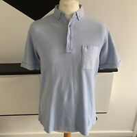 FRED PERRY Polo Shirt Size Large Light BLUE | SLIM Fit Smart Casual Mod