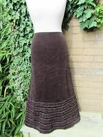Per Una Ladies Chocolate Coloured Cord Long Skirt With Fish Tail Hem Size 10m