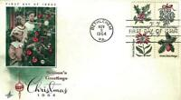 U.S. 1964 SE-TENANT CHRISTMAS Block 4 Scott #1254-57 on an ArtCraft FDC Cachet
