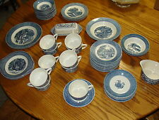 CURRIER & IVES ROYAL-IRONSTONE DISHES PLATES CUPS SAUCERS BUTTER TRAY