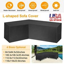 Black L Shape Sofa Cover Patio Outdoor Garden Furniture Waterproof Protector New