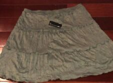 NWT AGB Olive Tiered, Ruffled, Flared , Lined Short Polyester Skirt Size XL