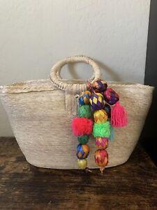 Mexican Straw Handbag With Pom Poms Handmade Mexico