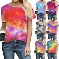 Women Summer Tie-Dye T-Shirt Tops Ladies Short Sleeve Casual Blouse Shirts US
