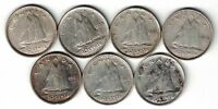 7 X CANADA TEN CENTS DIMES KING GEORGE VI 800 SILVER COINS 1937 - 1949