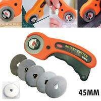 Rotary Cutter 45/28mm Blade + 5 Balde Fabric Craft  Leather Cutting Sewing Tool