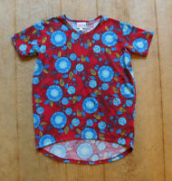 Lularoe Gracie / Irma Kids Shirt / Size 8 / Red Blue Floral