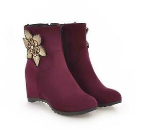 Women High Wedge Heel Suede Platform Flower Decoration Zipper Ankle Boots Shoes