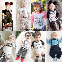 2pcs Newborn Baby Boys Girls Kids Casual T-shirt Tops+Pants Outfits Clothes Sets