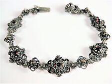 Antikes Armband Silber 835 mit Granat, 19,3 cm