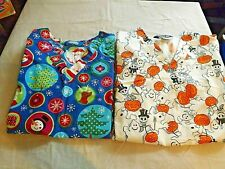 Scrubs Scrub Holiday Halloween Christmas Small S 2 Pocket Short Sleeves