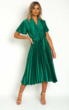 IKRUSH Womens Natalia Satin Pleat Midi Dress