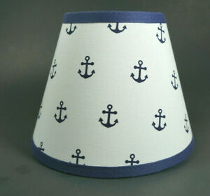 Nautical Navy Anchors on White Fabric Lampshade Lamp Shade