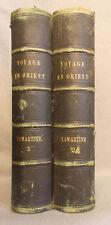 Antique UN VOYAGE EN ORIENT 1832-1833 Alphonse Lamartine 2 VOLUME SET Leather