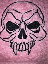 Embroidered Baby Pink Bathroom Hand Towel SKULL with Fangs HS0678