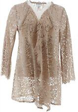 Isaac Mizrahi Cascade Open Front Lace Cardigan Wheat 1X NEW A353154