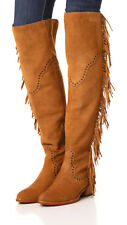 New $578 Womens 8 Frye Suede Leather Boots OTK Tall Knee Fringe Ray Camel Tan