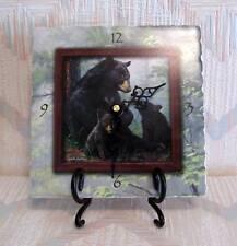 Bear Clock With Easel Black Bear Family  Tumbled Stone