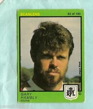 1982   SOUTH SYDNEY RABBITOHS  SCANLENS RUGBY LEAGUE CARD #62  GARY HAMBLY