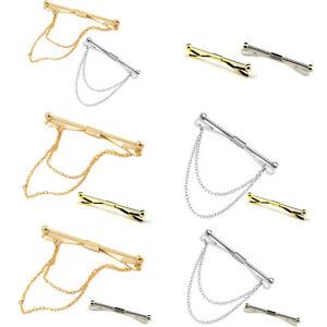 2 PCS Men's Collar Pin Chain Tie Bar Brooch Accessories Men Gift Silver Gold