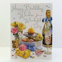 Jonny Javelin Female Happy Birthday Wishes Card Cupcake Flowers Champagne/V667