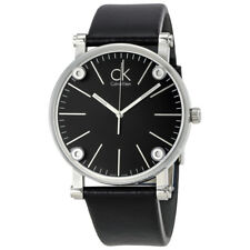 Calvin Klein Congent Black Dial Black Leather Mens Watch K3B2T1C1