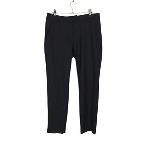 Autograph M&S Size 10 EUR 38 Black Silk & Wool Straight Leg Trousers W34 L30