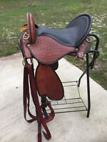 "Paso Fino Saddle Georgeous hand tooled  Black & Brown Seat is 17"" Medium Gullet."
