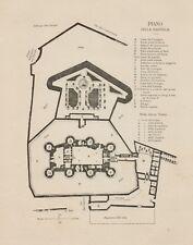 C1502 France - Piano della Bastiglia - 1890 xilografia d'epoca