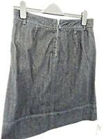 CREW Clothing Ladies Size 12 Dark Blue Denim Skirt Pockets Back Zip