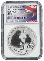 2016 Australia 1oz Silver Lunar Monkey w/Lion Privy NGC MS70 - Flag Label